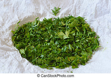 Green shallot coriander - Chopped green shallot coriander on...
