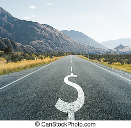 Dollar symbol on endless road, financial background. -...