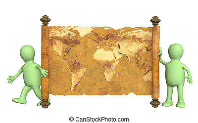 3d puppets with the ancient map - Puppets with the ancient...