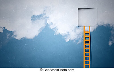 Door in blue sky - Imaginary image of ladder leading to...