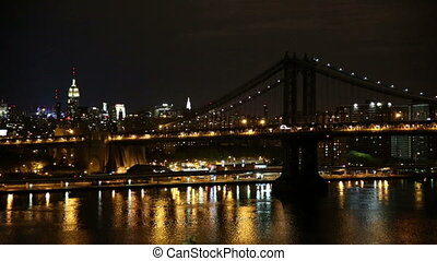 Manhattan Bridge at Night with Emprie State Building