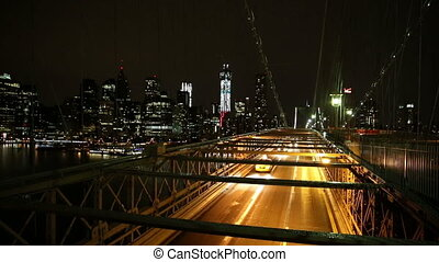 Brooklyn Bridge at Night with Cars