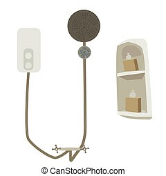Water Heater - Vector illustration of water heater shower...