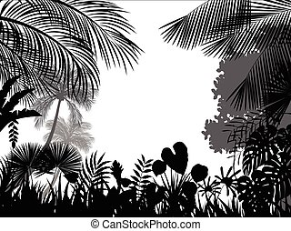 Tropical silhouette background