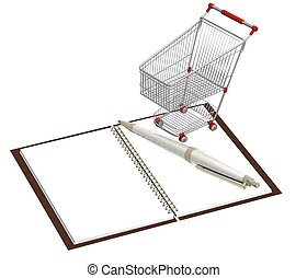 Shopping cart and notebook - isolated over white