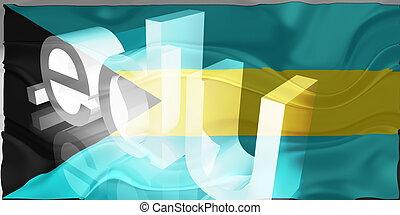 Flag of Bahamas wavy education