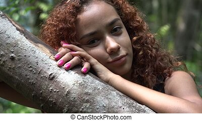Latina Girl with Curly Hair