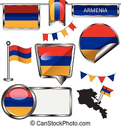 Glossy icons with flag of Armenia - Vector glossy icons of...