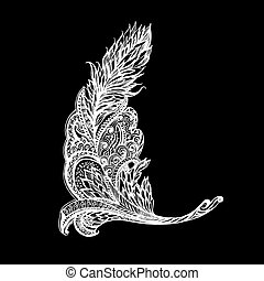 Patterned decorative element form feather on black...