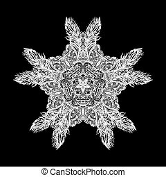 Patterned decorative element form star on black background