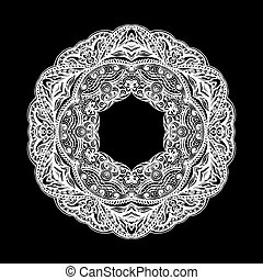Patterned decorative element  form ring on black background