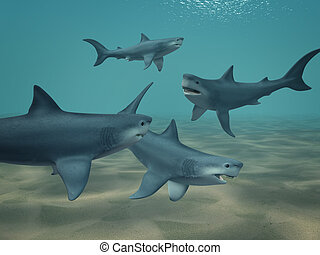 Sharks - 3d sharks, floating at ocean