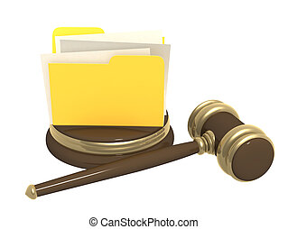 Judicial gavel and folder. Objects over white