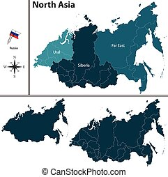 Political map of North Asia - Vector of political map of...