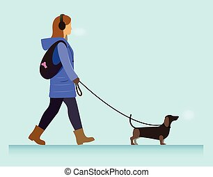 girl with dog walking - illustration girl walking with...