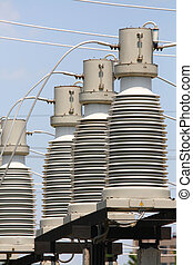part of high-voltage substation with switches and disconnectors