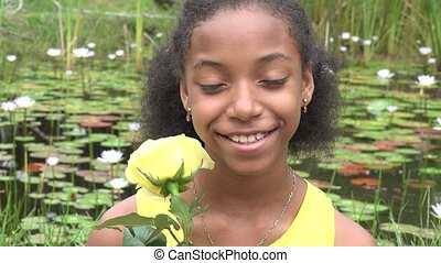 African Teen Girl at Pond