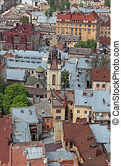 Small beautiful houses and roofs of Lviv