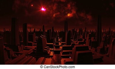 Ghost Town aliens - City of strange tall structures flooded...