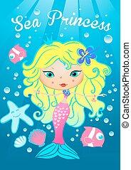 Sea princess swimming under the sea