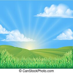 Rolling Hills Field Sun Background - A rolling hills field...
