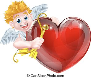 Cupid Heart - Cupid valentines day angel cartoon with his...