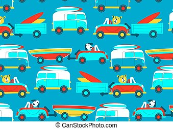 Animals driving to the beach beep beep repeat pattern