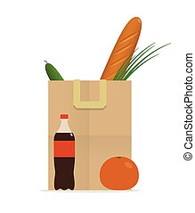 paper bag with food, healthy diet