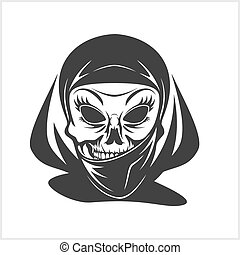 Arabic skull in hijab isolated on white