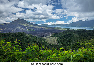 Volcano of Batur Indonesia - Caldera of the volcano of Batur...