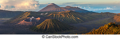 Volcanoes of Indonesia - Panorama of the group of volcanoes...
