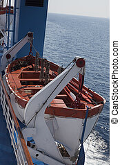 lifeboat - Safety lifeboat on deck of a cruise ship