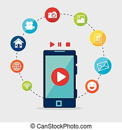 Technology electronic device graphic icon design, vector...