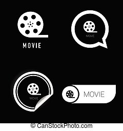 movie icon vector in black and white