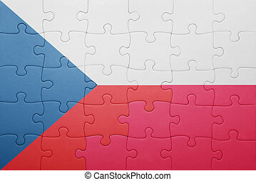 puzzle with the national flag of czech republic and poland