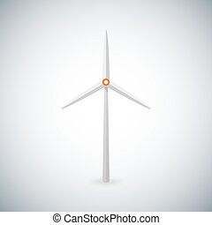 Illustration with wind turbine. Wind energie. - vector...