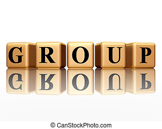 group with reflection - 3d golden boxes with text - group,...