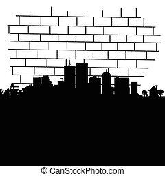 city vector in black