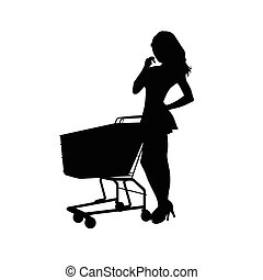 woman vector with shopping basket