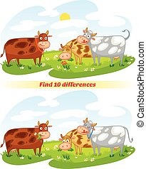 Find 10 differences A herd of cows grazing in the meadow...