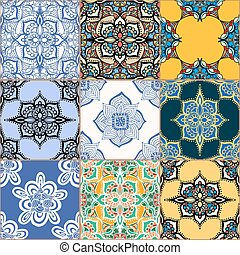 Gorgeous seamless pattern white colorful Moroccan,...
