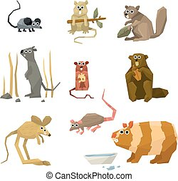 Rodents Vector Collection - Mice and rodents icons Vector...