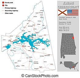 Alabama Cherokee County Map - Large and detailed map and...