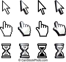 Cursor Hand, arrow, hourglass, magnifying Black and white...