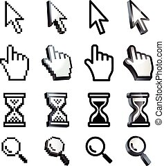 Cursor. Hand, arrow, hourglass, magnifying. Black and white...