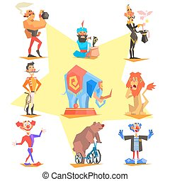 Circus collection with carnival, fun fair, vector icons...