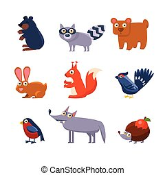 Wild Forest Animals. Vector Illustration Collection