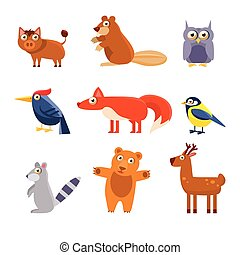 Cute Wild Forest Animals Vector Illustration Collection -...
