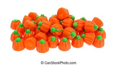 Group of Halloween pumpkin candy
