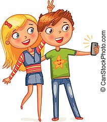 Boy and girl posing together. Friends making selfie. Funny...
